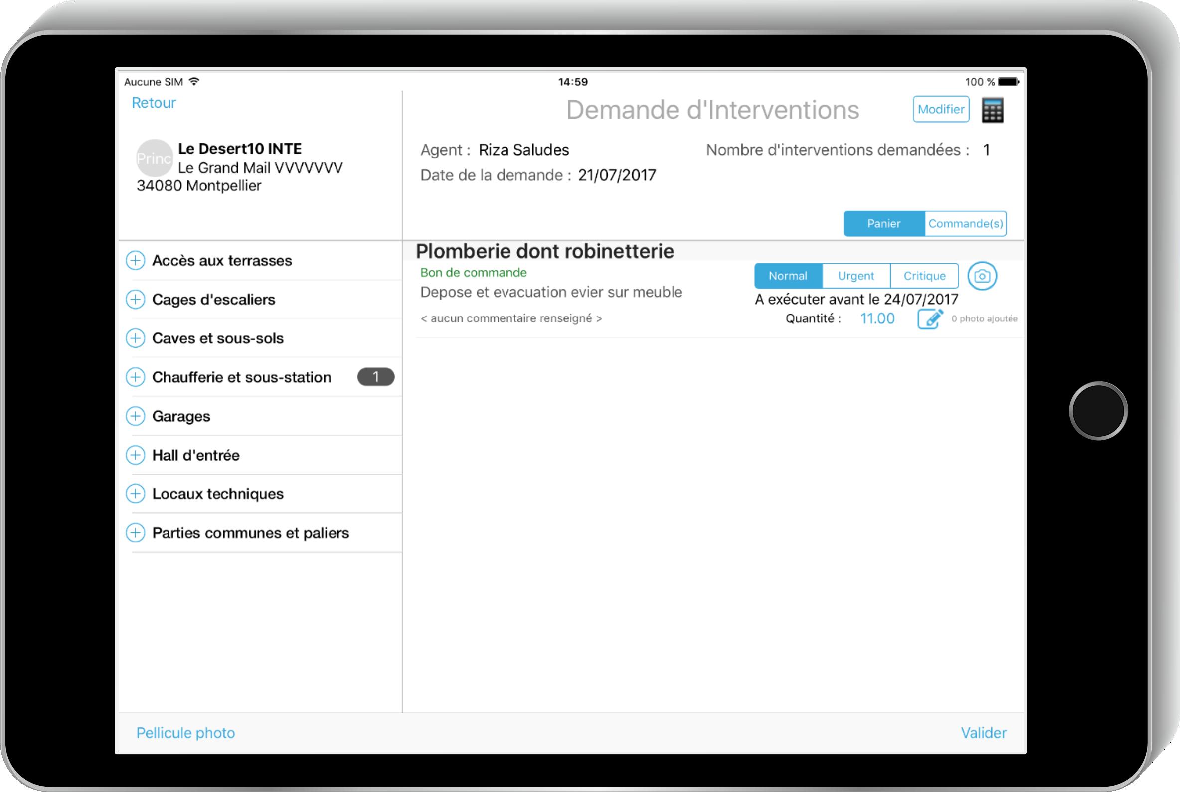 Logiciel de demande d'intervention - Ecran tablette Novamap